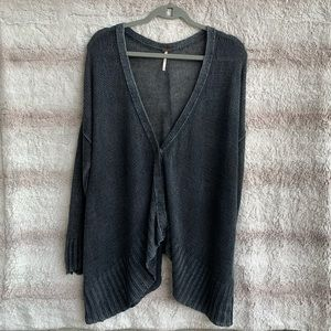 Free People Acid Wash Open Knit Oversized Cardigan